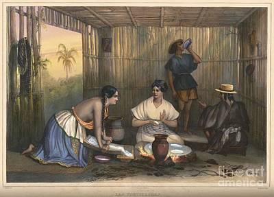 Mexican Women Grinding Corn And Making Tortillas In Mexico Poster by Celestial Images