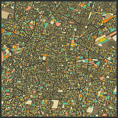 Mexico City Map Poster by Jazzberry Blue