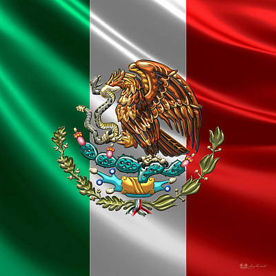 Mexico - Coat Of Arms Over Flag Poster by Serge Averbukh