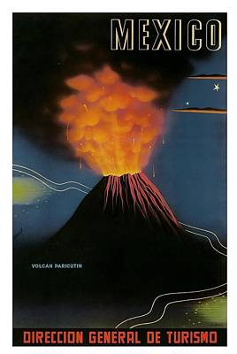 Mexico Volcano Of Paricutin Vintage World Travel Poster Poster by Retro Graphics