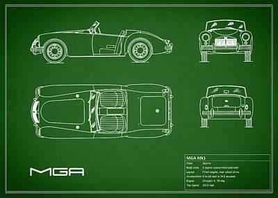 Mga Mk1 Blueprint - Green Poster by Mark Rogan