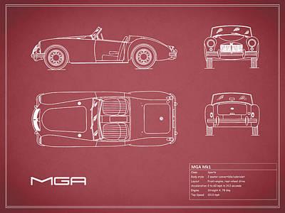 Mga Mk1 Blueprint - Red Poster by Mark Rogan