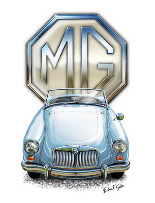 Mga Sports Car In Light Blue Poster by David Kyte