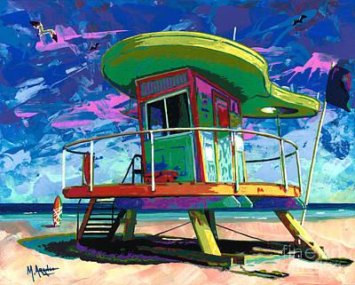 Miami Beach Lifeguard Tower Poster by Maria Arango