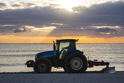Miami Beach Tractor Smoothing The Sand Florida Poster by Toby McGuire