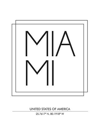 Miami, United States Of America - City Name Typography - Minimalist City Posters Poster