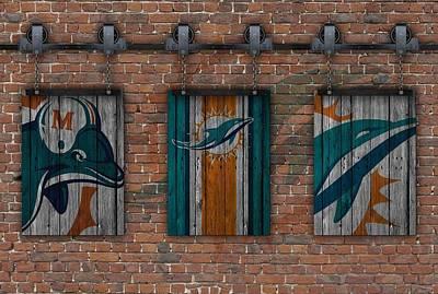 Miami Dolphins Brick Wall Poster by Joe Hamilton