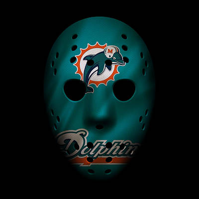 Miami Dolphins War Mask 2 Poster by Joe Hamilton
