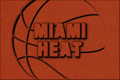 Miami Heat Leather Art Poster
