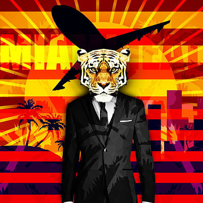Miami Heat Tiger Poster by Gallini Design