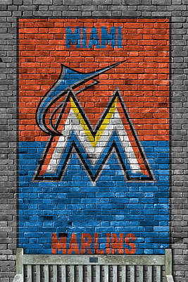 Miami Marlins Brick Wall Poster by Joe Hamilton