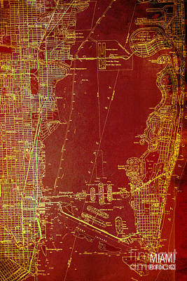 Miami Red Old Vintage Map Poster