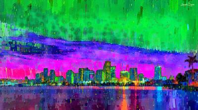 Miami Skyline 113 - Pa Poster by Leonardo Digenio