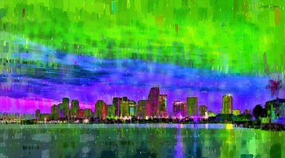 Miami Skyline 121 - Da Poster by Leonardo Digenio