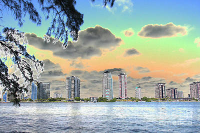 Miami Skyline Abstract Poster by Christiane Schulze Art And Photography