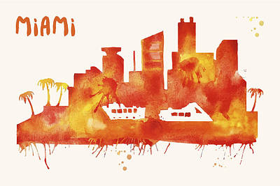 Miami Skyline Watercolor Poster - Cityscape Painting Artwork Poster by Beautify My Walls