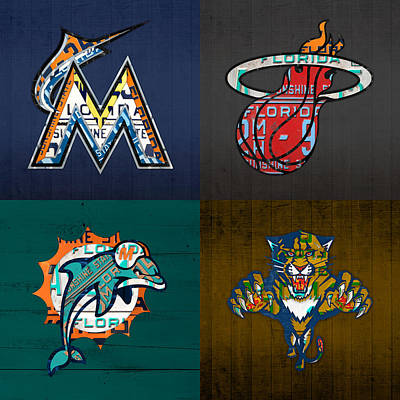 Miami Sports Fan Recycled Vintage Florida License Plate Art Marlins Heat Dolphins Panthers Poster by Design Turnpike
