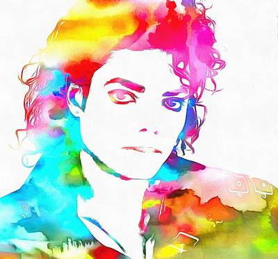 Michael Jackson Watercolor Poster by Dan Sproul