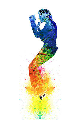 Michael Jackson Watercolor Poster by PixBreak Art