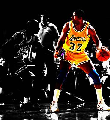 Michael Jordan And Magic Johnson Poster by Brian Reaves