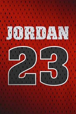 Michael Jordan Chicago Bulls Retro Vintage Jersey Closeup Graphic Design Poster
