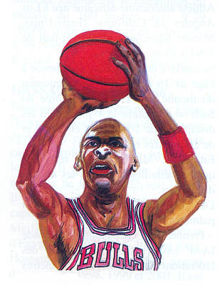 Poster featuring the painting Michael Jordan by Emmanuel Baliyanga