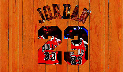Michael Jordan Wood Art 1b Poster