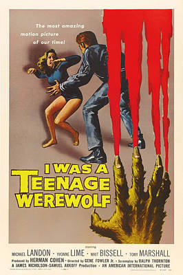 Michael Landon In I Was A Teenage Werewolf 1957 Poster by Mountain Dreams