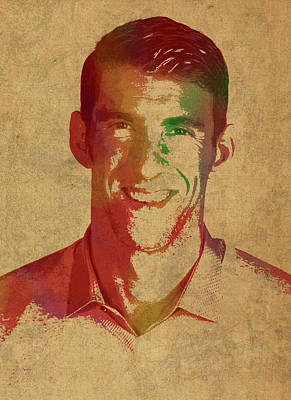 Michael Phelps Swimmer Olympian Watercolor Portrait Poster by Design Turnpike