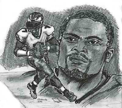 Poster featuring the drawing Michael Vick by Chris  DelVecchio