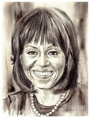 Michelle Obama Watercolor Portrait Poster