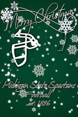 Michigan State Spartans Christmas Card Poster by Joe Hamilton