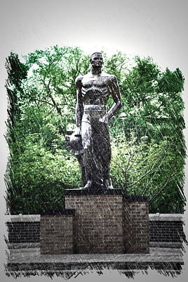 Michigan State University Spartan Statue Pa Vertical Poster by Thomas Woolworth