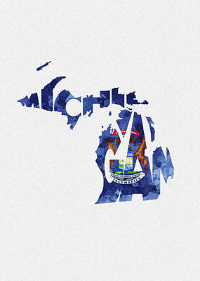 Michigan Typographic Map Flag Poster