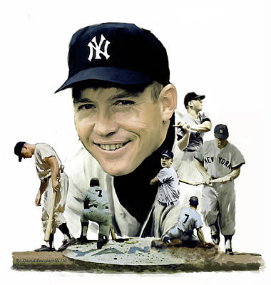 Poster featuring the painting Mickey Mantle Legacy, II  by Iconic Images Art Gallery David Pucciarelli