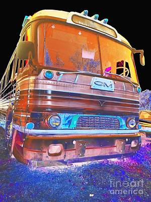 Mid Century Gm Greyhound Bus Abstract Poster