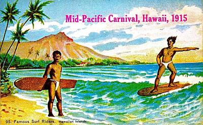 Mid Pacific Carnival Hawaii Surfing 1915 Poster