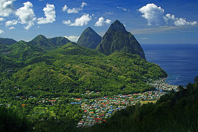 Midday- Pitons- St Lucia Poster by Chester Williams