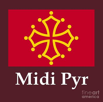 Midi Pyr, France Flag And Name Poster by Frederick Holiday