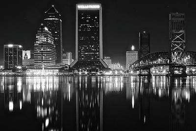 Midnight Lights In Jacksonville Poster by Frozen in Time Fine Art Photography