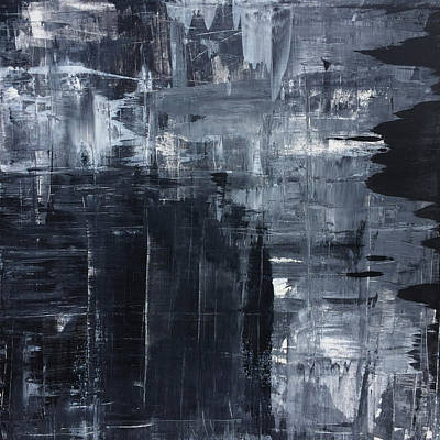 Midnight Shades Of Gray - 48x48 Huge Original Painting Art Abstract Artist Poster by Robert R Splashy Art Abstract Paintings