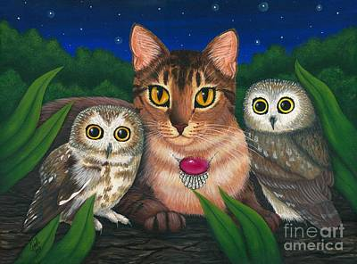 Poster featuring the painting Midnight Watching - Abyssinian Cat Saw Whet Owls by Carrie Hawks