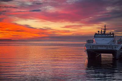 Midsummer Sunset In The Harbor Poster by Sandra Rugina