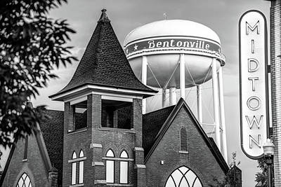 Midtown Neon On The Bentonville Arkansas Sqaure Black And White Poster by Gregory Ballos