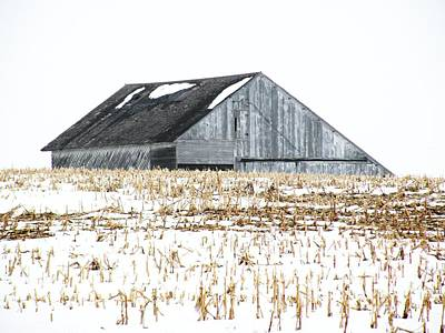 Midwest Barn In Winter Poster by Christine Belt