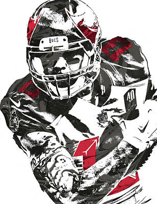 Poster featuring the mixed media Mike Evans Tampa Bay Buccaneers Pixel Art by Joe Hamilton