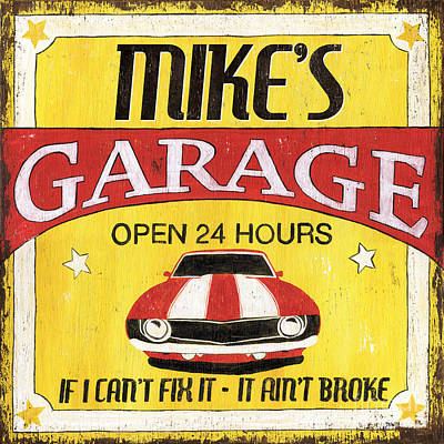 Mike's Garage Poster by Debbie DeWitt