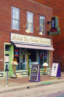 Poster featuring the painting Mike's Ice Cream Fountain by Sandy MacGowan