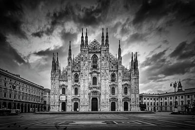 Milan Cathedral Santa Maria Nascente Monochrome Poster by Melanie Viola