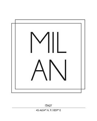 Milan City Print With Coordinates Poster